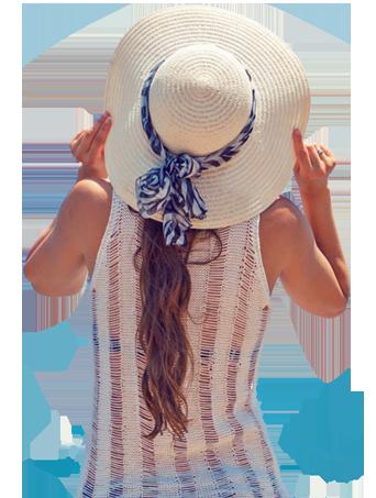 sun hat on